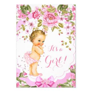 """Blonde color de rosa floral rosado dulce del chica invitación 5"""" x 7"""""""