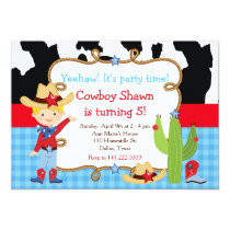 Blonde Cowboy Western Birthday Party Invitation