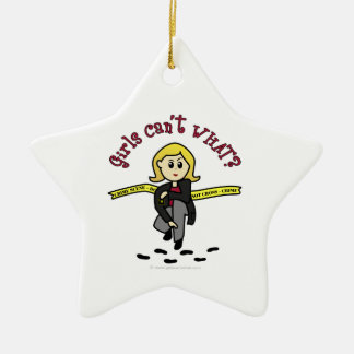 Blonde CSI Girl Ceramic Ornament