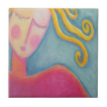 Blonde Curls Small Square Tile