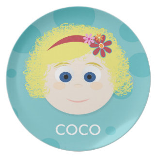 Blonde Curly Q Dark Blue Eyes Girl Melamine Plate