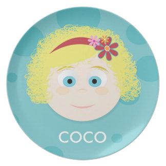 Blonde Curly Q Sky Blue Eyes Girls Melamine Plate
