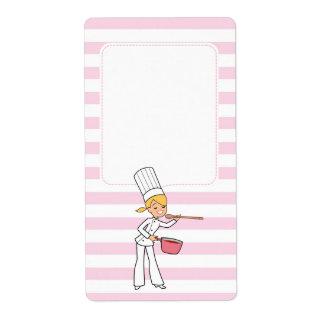 Blonde Cute Cartoon Chef Jar Label Shipping Label