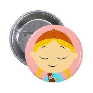blonde de centro del girl scout del _del chica pin redondo 5 cm