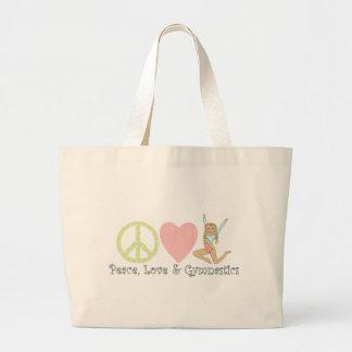 blonde de la gimnasia del amor de la paz bolsa tela grande