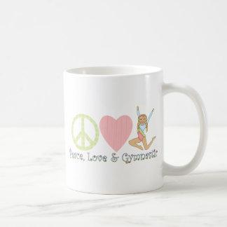 blonde de la gimnasia del amor de la paz taza básica blanca