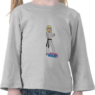 Blonde de la luz del chica de los artes marciales camisetas
