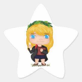 Blonde del chica de la graduación (a) pegatina en forma de estrella
