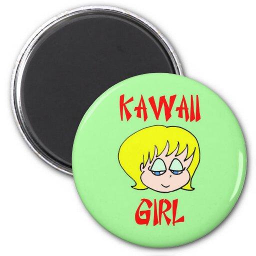 blonde del chica del kawaii imanes para frigoríficos