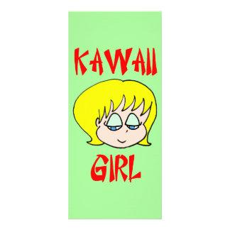 blonde del chica del kawaii diseño de tarjeta publicitaria