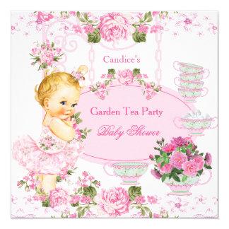 """Blonde del rosa del cordón de la fiesta del té del invitación 5.25"""" x 5.25"""""""