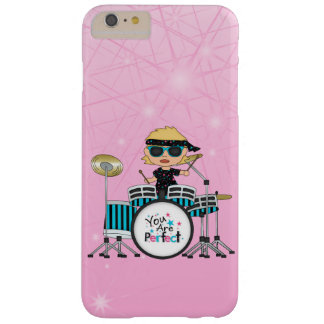Blonde Drummer Girl with Stars on Pink Barely There iPhone 6 Plus Case