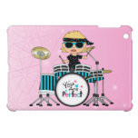 Blonde Drummer Girl with Stars on Pink iPad Mini Cover