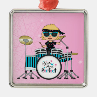 Blonde Drummer Girl with Stars on Pink Square Metal Christmas Ornament