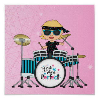 Blonde Drummer Girl with Stars on Pink Poster