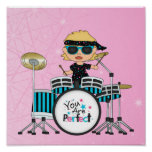 Blonde Drummer Girl with Stars on Pink Print