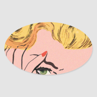 Blonde Fantasy Vintage Comic Oval Stickers