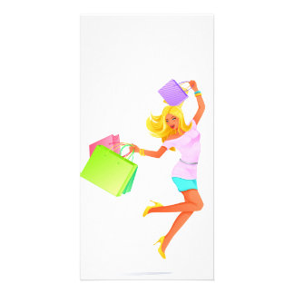 Blonde fashion model holding shopping bags card