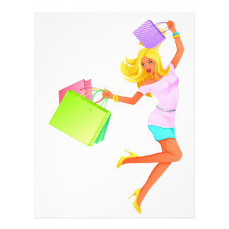 Blonde fashion model holding shopping bags flyer