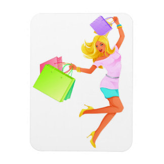 Blonde fashion model holding shopping bags magnet