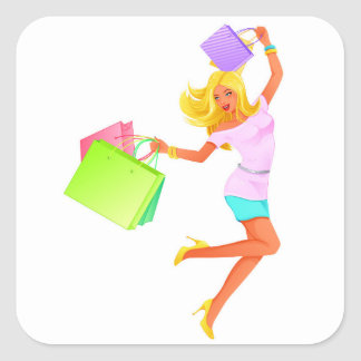 Blonde fashion model holding shopping bags square sticker