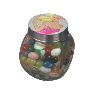 Blonde fashion model in pink dress jelly belly candy jar