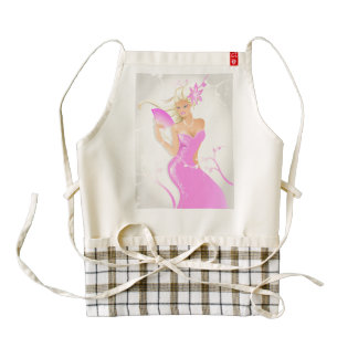 Blonde fashion model with sparkling pink dress zazzle HEART apron