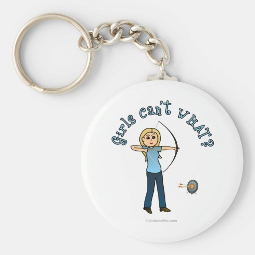 Blonde Female Archery in Blue Keychains
