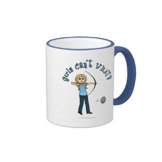 Blonde Female Archery in Blue Mug