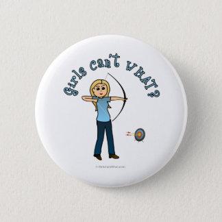 Blonde Female Archery in Blue Pinback Button