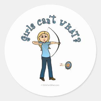 Blonde Female Archery in Blue Classic Round Sticker