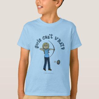 Blonde Female Archery in Blue T-Shirt