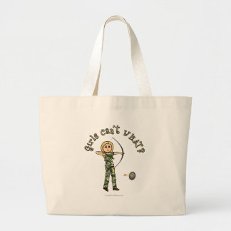 Blonde Female Archery in Camouflage Tote Bag
