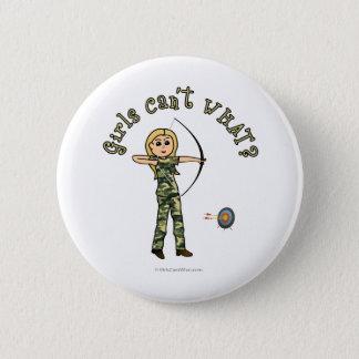 Blonde Female Archery in Camouflage Button
