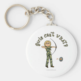 Blonde Female Archery in Camouflage Key Chains