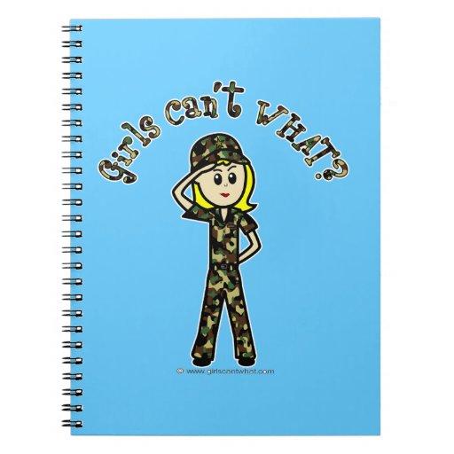 Blonde Female Army Girl Note Books