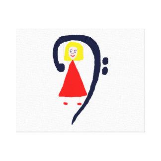Blonde female blue bass clef red dress canvas print