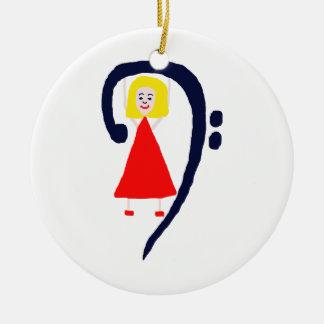 Blonde female blue bass clef red dress ceramic ornament