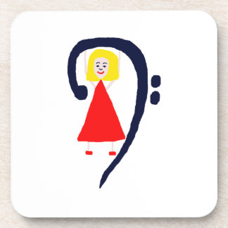 Blonde female blue bass clef red dress beverage coasters
