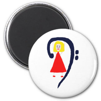 Blonde female blue bass clef red dress fridge magnets