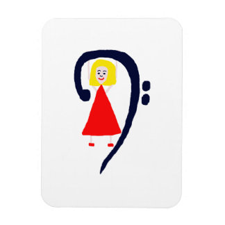 Blonde female blue bass clef red dress magnets