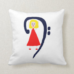 Blonde female blue bass clef red dress throw pillow