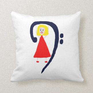 Blonde female blue bass clef red dress throw pillow