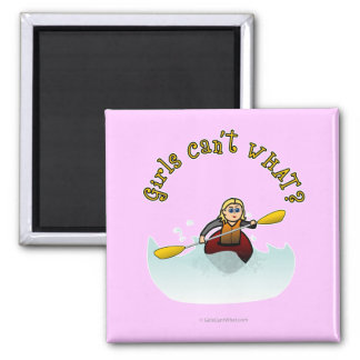 Blonde Female Kayaker 2 Inch Square Magnet