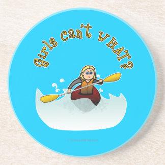 Blonde Female Kayaker Beverage Coasters