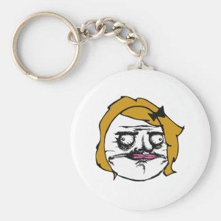 Blonde Female Me Gusta Comic Rage Face Meme Keychain