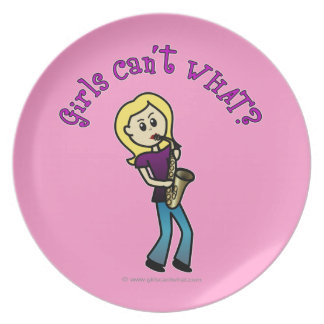 Blonde Female Saxophone Player Party Plate