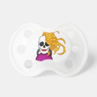 blonde female skull pacifier