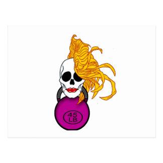 blonde female skull postcard
