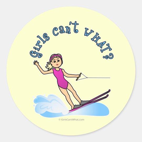 Blonde Female Water Skier Classic Round Sticker